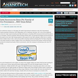 Intel Announces Xeon Phi Family of Co-Processors – MIC Goes Retail