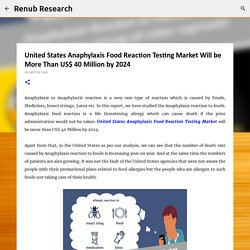 United States Anaphylaxis Food Reaction Testing Market Will be More Than US$ 40 Million by 2024