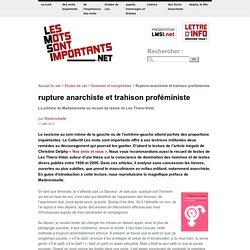 Rupture anarchiste et trahison proféministe