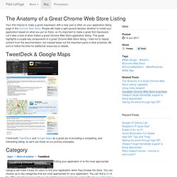 Pete LePage on the Web » The Anatomy of a Great Chrome Web Store Listing