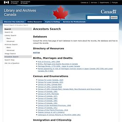 Library & Archives Canada: Ancestors Search