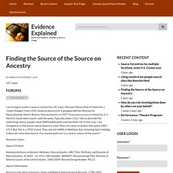 Finding the Source of the Source on Ancestry