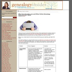 Why Your Ancestry.com and Other Online Genealogy Searches Don't Work