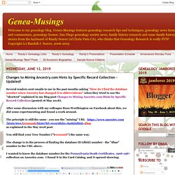 Genea-Musings: Changes to Mining Ancestry.com Hints by Specific Record Collection - Updated!