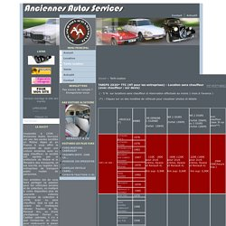 Anciennes Autos Services - TARIFS 2020* TTC (HT pour les entreprises) - Location sans chauffeur (avec chauffeur : sur devis)