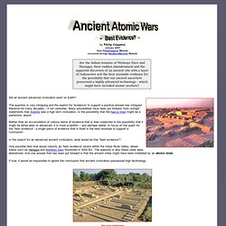 Ancient Atomic Wars - Best Evidence?