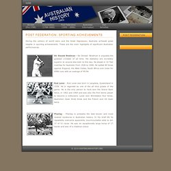 Australian History: Post Federation: Sporting Achievements