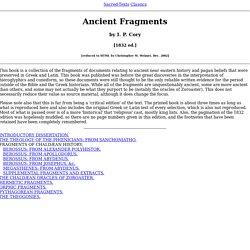 Ancient Fragments (I. P. Cory) - Index