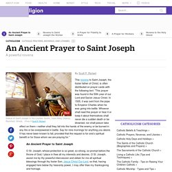 An Ancient Prayer to St. Joseph
