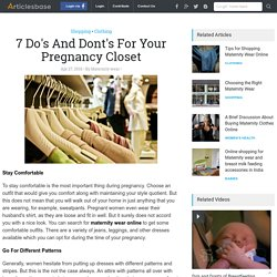 7 Do's And Dont's For Your Pregnancy Closet