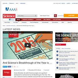 And Science's Breakthrough of the Year is …