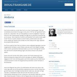 Andorra - Max Frisch - Inhaltsangabe