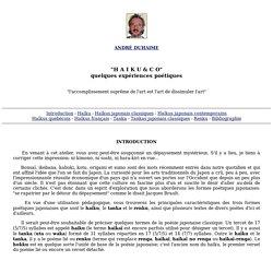 André Duhaime. Haïku et co (1996).