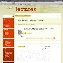 André Helbo (dir.), Performance et savoirs