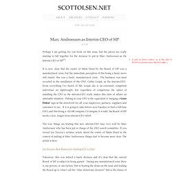 Marc Andreessen as Interim CEO of HP : ScottOlsen.Net
