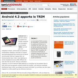 Android 4.3 apporte le TRIM
