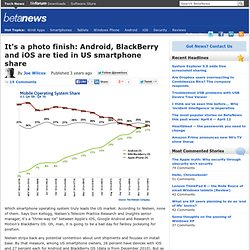 It's a photo finish: Android, BlackBerry and iOS are tied in US smartphone share