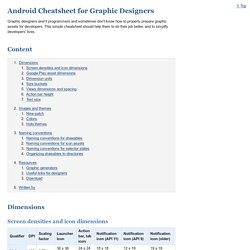 Android Cheatsheet for Graphic Designers