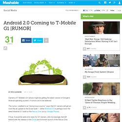 Android 2.0 Coming to T-Mobile G1 [RUMOR]