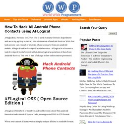 How To Hack All Android Phone Contacts using AFLogical