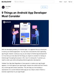 9 Things an Android App Developer Must Consider