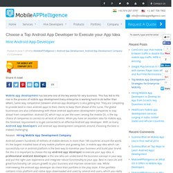 Choose a Top Android App Developer to Execute your App Idea