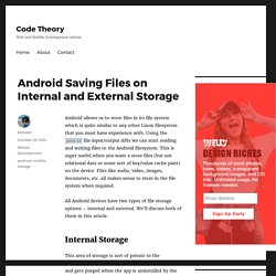 Android Saving Files on Internal and External Storage – Code Theory