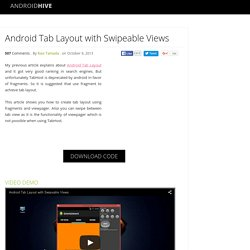 Android Tab Layout with Swipeable Views