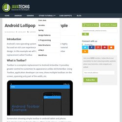 Android Lollipop Toolbar Example