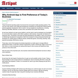 Why Android App is First Preference of Today's Business