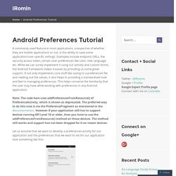 Android Preferences Tutorial » iRomin