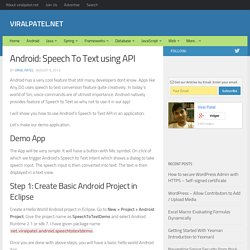 Android Speech to Text API. Speech to Text using RecognizerIntent