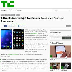 A Quick Android 4.0 Ice Cream Sandwich Feature Rundown