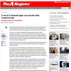 2 out of 3 Android apps use private data 'suspiciously'