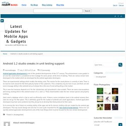 Android 1.2 studio sneaks in unit testing support