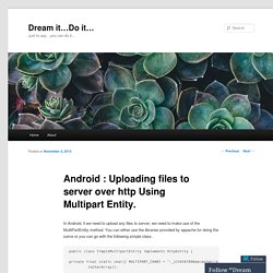 Android : Uploading files to server over http Using Multipart Entity.