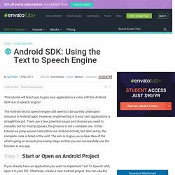 Android SDK: Using the Text to Speech Engine