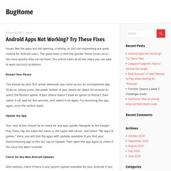 Android Apps Not Working? Try These Fixes - BugHome