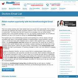 Anesthesiologist Email List, Mailing Addresses and Database from Healthcare Marketers