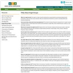 Angel Group FAQs / Angel Capital Association
