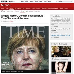 Angela Merkel, German chancellor, is Time 'Person of the Year'