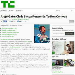 AngelGate: Chris Sacca Responds To Ron Conway