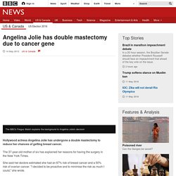 Angelina Jolie has double mastectomy due to cancer gene