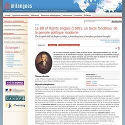 Le Bill of Rights anglais (1689), un texte fondateur de la pensée politique moderne