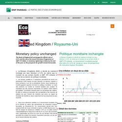 Banque d'Angleterre (BoE) - Politique monétaire - Royaume-Uni - Etudes économiques