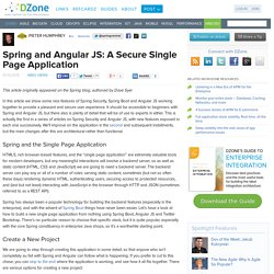 Spring and Angular JS: A Secure Single Page Application