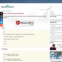 Make It Easy: Angular js add class to active element
