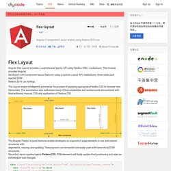 flex-layout:Angular 2 component Layout engine; using flexbox-2016 css.