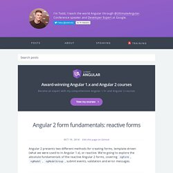 Angular 2 form fundamentals: reactive forms