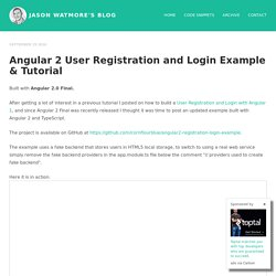 Angular 2 User Registration and Login Example & Tutorial